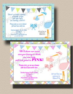 Baby Shower Printables, Baby Shower Invitations, Stork Baby Showers, Different Fonts, Party Needs, Baby Coming, Digital Invitations, For Your Party, Rsvp