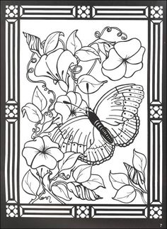 Stained Glass Windows to Color | Butterflies and Blossoms Stained Glass Coloring Book (043723) Details ...