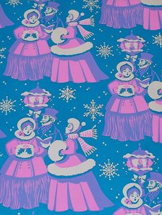 Christmas •~• vintage blue, pink, and purple carolers gift wrap
