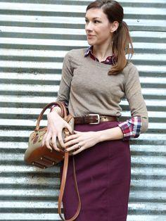 plaid button down under crewneck cardigan, pencil skirt, cognac belt