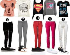 of course we can't forget about the graphic tee paired with colored skinny jeans and sneakers trend