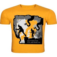 """This yellow round neck half-sleeved T-shirt is inspired from the """"Indiana Jones"""". its wildlife print is going to bring out the wild in you."""