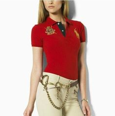 e3c4207a0b876 Ralph Lauren V-neck Big Pony Embroidery Red Short Sleeved