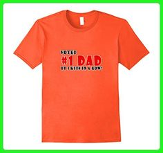 Mens Voted Number 1 Dad By 3 Kids in a Row Tshirt for Fathers Day Large Orange - Holiday and seasonal shirts (*Amazon Partner-Link)