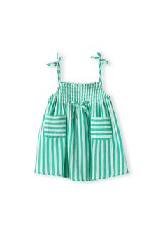 Country Road, Kids Stripe Pocket Dress This 100% seersucker cotton dress features a striped design, twin pockets, bow detailing, smocking at the neck and tie up shoulder straps.