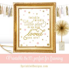 Twinkle Twinkle Little Star Baby Shower Decorations, Blush Pink Gold Glitter…