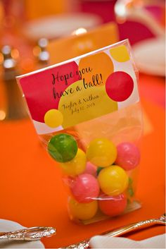 "Gumball Favors - like the tag (revise to say ""hope you had a ball - Tyler's first birthday, etc) and the fact that it uses regular cello bags (found everywhere)"