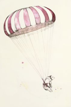 The bear went over the mountain #art #illustration #parachute #bear #cute #drawing