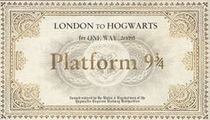 Harry Potter Paraphernalia: The Letters/Invitations--Platform 9 3/4 Ticket