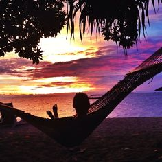 Enjoying a #Fiji sunset from a hammock a few weeks ago.