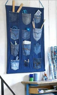 Recycled jeans organiser
