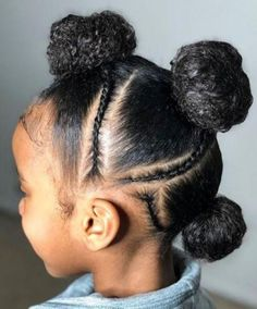 Hairstyles braids Perfect simple protective style, buns and braids design. Perfect simple protective style, buns and braids design. Childrens Hairstyles, Baby Girl Hairstyles, Natural Hairstyles For Kids, Kids Braided Hairstyles, Black Girls Hairstyles, Hairstyles Videos, School Hairstyles, Little Girl Braids, Black Girl Braids