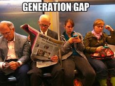 Generation gap - and yet they are doing the same thing... just a different medium!?