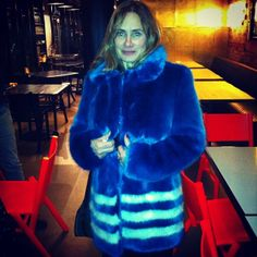 Penelope Chilvers in her Blue Pallas Shrimps Faux Fur Coat.. Prefect for a chilly London Winter!