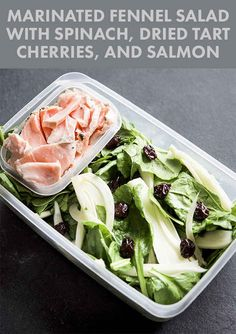 Marinated Fennel Salad with Spinach, Dried Tart Cherries, and Salmon