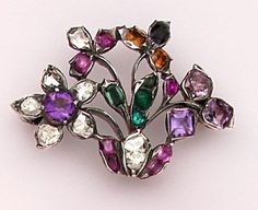 Quite Rare Georgian Multi-Colored Gem Brooch Set In Silver And Gold  c. 1840