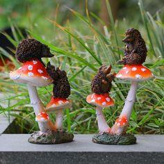 New Sales Resin Hedgehog Mushrooms Toadstool Garden Ornaments Gnomes Home Decros | eBay