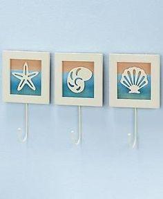 New 3 PC Seaside Wall Hooks Seashells Beach Coastal Bathroom Towel Rack Hanger | eBay