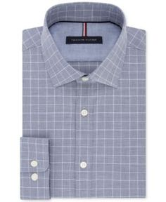 Tommy Hilfiger Men's Slim-Fit Soft-Touch Performance Non-Iron Check Dress Shirt - Blue 15.5 32/33
