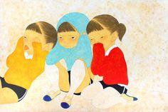 Thinking girls / Ikumi Nakada91×60.6cm(35.8×23.9inch) / 2013 / oil and pencil on paper