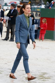 Carlota Casiraghi rocks a blue Gucci suit to perfection.