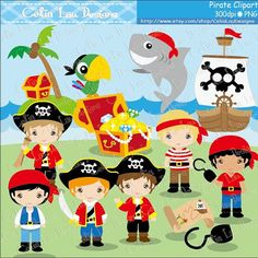 Pirate Clipart/ Cute pirate Clip art and Digital paper Background set / INSTANT DOWNLOAD (CG147)