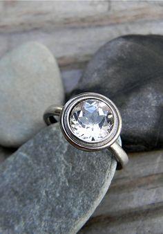 moissanite & 14k palladium white gold engagement ring, old hollywood inspired
