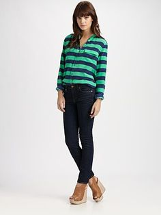 Collarless stripe shirt - love the green and blue
