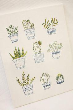 [BY 공방언니] 자수 작업의 시작은 도안작업이예요. 어떤 그림으로 수를 놓을건지 결정을 한 후에 도안... Cool Art Drawings, Colorful Drawings, Beautiful Small Tattoos, Cactus Illustration, Chalkboard Drawings, Baby Drawing, Plant Drawing, Flower Doodles, Aesthetic Drawing