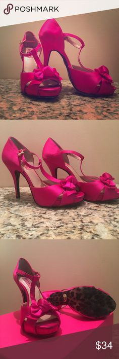 Size 6.5 Betsey Johnson 'Canddee' hot pink heels. These heals took me on a wonderful adventure in Las Vegas! Worn only one night, I know, hard to believe!  Looking for a new home, somewhere they will be worn and loved. They need a life outside these walls!  Little distress on the bottom, which is covered in a leopard fabric. So fashionista!  Scuffs on the toes and back, but decent shape! Betsey Johnson Shoes Heels