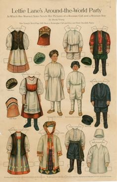 Lettie Lane's Around-the-World Party: Russian Girl and Boy  paper doll  1910  Artist:  Sheila Young