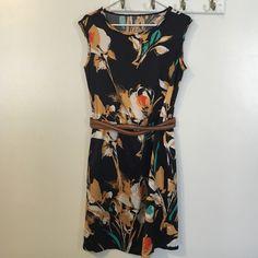 Dress and belt Navy silk dress with big floral design, brown belt LOFT Dresses