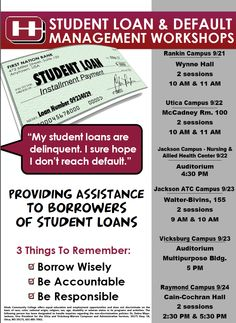 Our Student Loan Workshops start next week and will take place on each campus. For dates and times, please view the flyer.