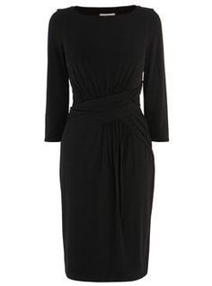 A black jersey three-quarter sleeve dress with a twist waist, from Coast. The ultimate LBD to see you through the year.