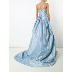 Carolina Herrera faille ball gown ($8,120) ❤ liked on Polyvore featuring dresses, gowns, blue evening dresses, strapless long dresses, blue ball gown, long dresses and blue strapless dress