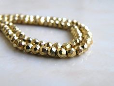 Gold Pyrite Bead Faceted Rondelle AAA 4mm by somsstudiosupplies, $22.00