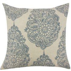 Lanza Damask Pillow Blue