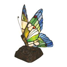 "Chloe Lighting Tiffany Butterfly 10"" H Table Lamp with Novelty Shade"