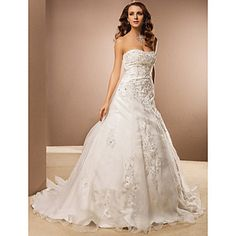 Ball Gown Strapless Chapel Train Organza Wedding Dress – USD $ 349.99