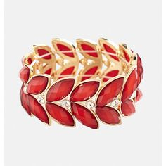 Avenue Faceted Leaf Stretch Bracelet ($16) ❤ liked on Polyvore featuring jewelry, bracelets, plus size, red, leaf jewelry, imitation jewellery, red rhinestone jewelry, fake jewelry and rhinestone bangles