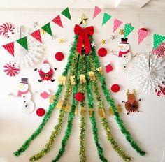 クリスマスのフォトブース 壁面クリスマスツリー
