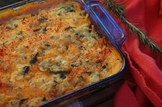Cheese Scalloped Potatoes - This is a Vegan recipe, but I would actually tweak it a bit and use spinach rather than chard, I think.