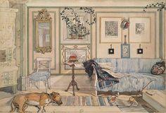 スウェーデンの古い木造家屋や、素朴で温かい雰囲気の家具…。どこか懐かしい食堂や居間の風景は、ほっと心が和む温かい雰囲気。その一枚一枚の絵から、カール・ラーションと家族の幸せに満ちた生活が伝わってきます。自宅そのものがモデルになった「わたしの家」は、インテリアのお手本としてもぜひ参考にしたい一冊です。