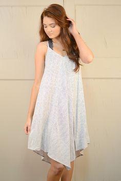 Blu Pepper Stripe Asymmetrical Hemline Dress