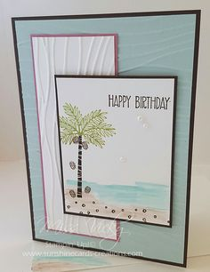 2017 Occasions Catalogue, Female Birthday Card, Stamp Sets - Totally Trees, Sunburst Sayings, Seaside EF, Watercolour Pencils, https://sunshinecards-creations.com/2016/12/31/fms268/ Stampin' Up!