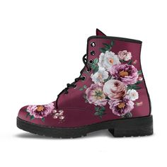 90s Boots, Goth Boots, Pink Boots, White Boots, Women's Boots, Pink And White Flowers, Pink White, Custom Shoes, Custom Design Shoes