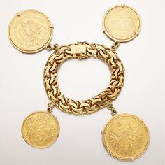Gold coin charm bracelet $14,000