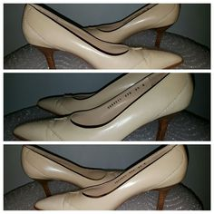 Ferragamo brogue beige 8.5 B Almond toe pump Two-toned beige/cream leather upper. Capped toe is done in patent leather with brogue detail. Brown stacked heel is full 3 inch. Leather outsoles. Padded insoles Almond toe. One dark smudge next to a toe (right shoe). Good used condition. AS IS. Salvatore Ferragamo Florence Shoes Heels