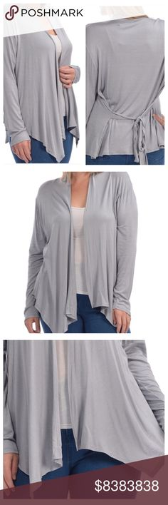 🎁EASY GIFT!🎁 🔹ARRIVED🔹Plus Sized Cardi that ties! Beautiful Dove Grey. Wear it tied in back or front, or leave open- lots of options! Long sleeves- can push them up, or wear down. Material: 96% Rayon, 4% Spandex blend- has stretch and recovery- hand wash cold, line dry. Super SOFT. Just choose your size below! Price firm unless bundled.🔹PS. I own one and LOVE it! Bellino Clothing Sweaters Cardigans