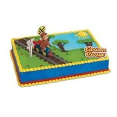 Curious George Train Cake Decorating Topper Kit w/ 2 railroad crossing flexi picks, & 1 lay-on sign . Insanely expensive but so cute